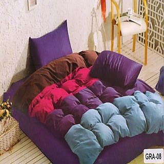 Valtellina Cotton Ultra-violet Double Bedsheet With 2 Pillow Cover (GRA-08)