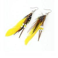 GirlZ! Fashion New Vintage Luxury Feather Long Dangle Earrings - Yellow