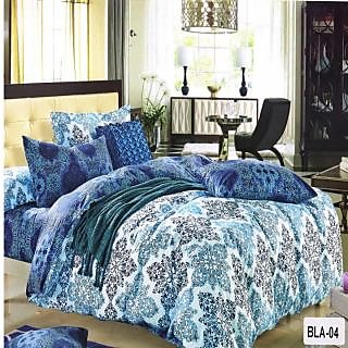 Valtellina Polycotton  Damask  Double Bedsheet with  Pillow cover (BLA-04)