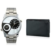 Rico Sordi Mens Multifunctional Dual Time Watches With Stainless Steel Strap Leather Wallet