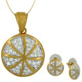 Spargz  Football Designe Cz Studded Pendant Set With Earrings For Women