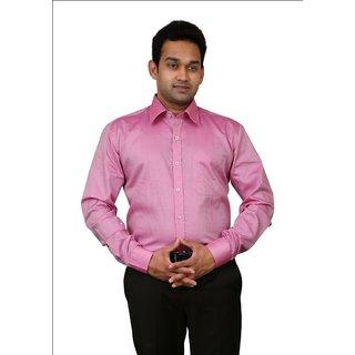 Benzoni Dark Pink Plain Trim Fit Full Sleeves Shirt