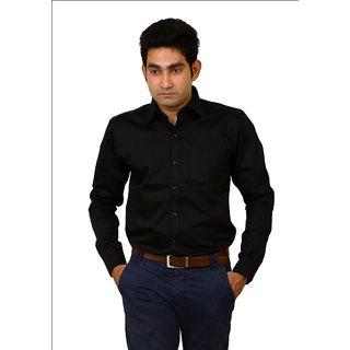 Benzoni Plain Black Trim Fit Full Sleeves Shirt