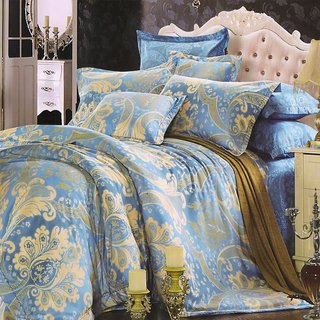 Valtellina Damask Cotton King Bedsheet With 2 pillow cover (VT-07)