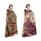 MySilk Printed Art Silk Saree Pack of 2 Sarees
