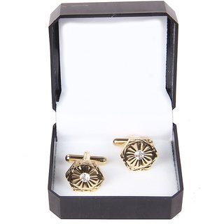 Jstarmart Hexagon Golden Cufflink For Men JSMFHMA0118