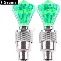 2 x Diamond Shaped Auto LED Valve Lamp Flashing Light Tyre Wheel Light for Car B