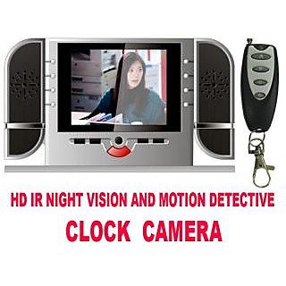 12 Hour Battery Backup Hd Ir Night Vision And Motion Detective Clock Dvr With Video Play Back
