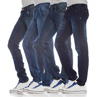 Blue Mid Rise Jeans For Mens (Pack Of 4)