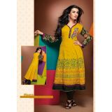 Yellow cotton Kurti/Kurta/kurtis with georgette sleeves