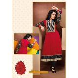 Red Full Sleeves Georgette kurti/kurta