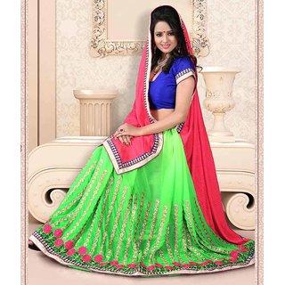 Green & Pink Color Jacquard + Chiffon Saree