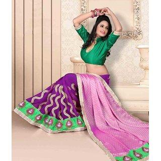Pink & Purple Color Jacquard + Georgette Saree