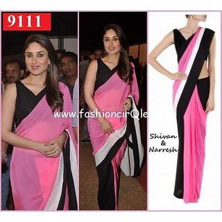 Indian Designer   Kareena Pink & Black Bridal Saree