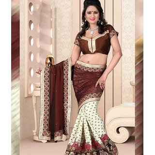 Brown & White Color Chiffon + Georgette Saree
