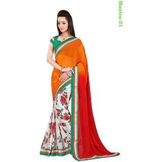 Javiya's Hub Multi Colour Faux Pure Culcutti Georgate Saree