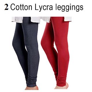 2 Ladies Cotton Lycra Leggings