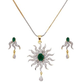 The Rising Sun Green Pendant Set