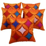 Geometric Cushion Cover Orange With Multi Color Patch(5 Pcs Set)