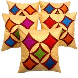 Geometric Cushion Cover Beige With Multi Color Patch(5 Pcs Set)