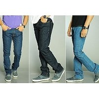 Blue  Black Mid Rise Jeans For Mens (Pack Of 3)