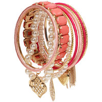 The Pari Pink Pearly Alloy Rose Gold Plated Bangle Set(Pack of 12)