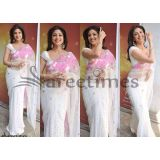 Shilpa Shetty Bollywood White Chiffone Saree Nach Baliye Saree