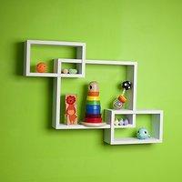 Decorative Intersecting Rectangular Wall Shelf Set Of 3 Shelves White