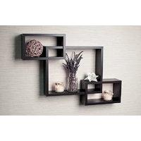 Decorative Intersecting Rectangular Wall Shelf Set Of 3 Shelves Wall Decor