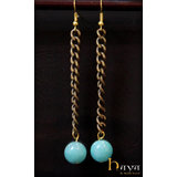 Blue Oxidise Chain Earrings