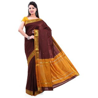 Marutionline Brown Cotton Silk Printed Saree With Blouse Piece