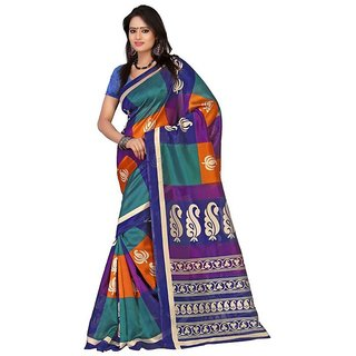 Anwesha Multi Cotton Silk Printed Artistic Saree With Blouse Piece