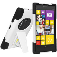 Amzer 96175 Double Layer Hybrid Case  Kickstand - Black/ White  Nokia Lumia 1020