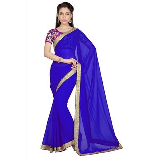 Royal Blue faux georgette saree with unstitched blouse (1625)
