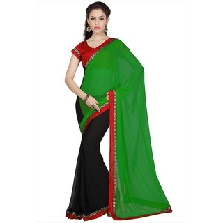 Green & Black Faux Georgette saree with unstitched blouse (1685)