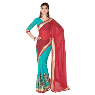 Red & Turquoise Faux Georgette saree with unstitched blouse (1770)
