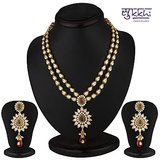 Sukkhi Delightful Gold Plated Cz Two String Necklace Set