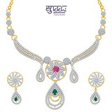 Sukkhi Youthful Ruby And Emerald Studded Gold And Rhodium Plated Cz Necklace Set