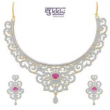 Sukkhi Indian Wedding Ruby Studded Gold And Rhodium Plated Cz Necklace Set