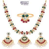 Sukkhi Paisley Gold Plated Ad Necklace-Earring-Ring Set