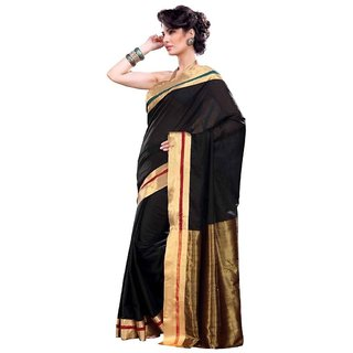 Velvi Black Soft Cotton Saree