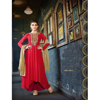 Thankar Red And Black Embroidered Georgette Anarkali Suit