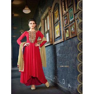 Thankar Red And Black Embroidered Georgette Anarkali Suit