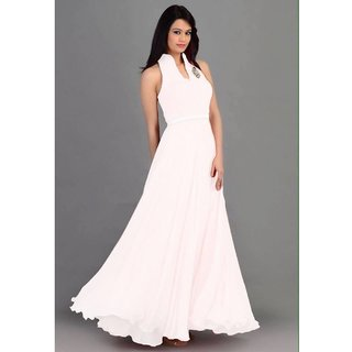 Thankar Latest Designer Heavy White Sleeveless Gown