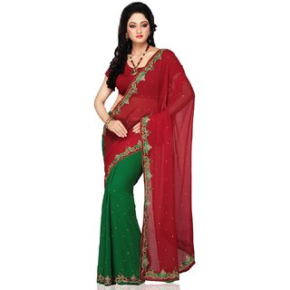 Bay & Blue Collection Of Red& Green Chiffon Saree With Resham & Ziricon  Work..