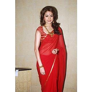 Designer Anushka Sharma Red Georgette Saree - ASTRB1