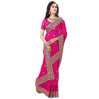 Bay & Blue Collection Of Pink Chiffon Saree With Resham Embroidery..
