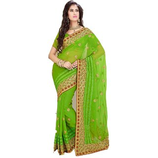 Bay & Blue Collection Of Green Chiffon Saree Withresham Embroidery Work..