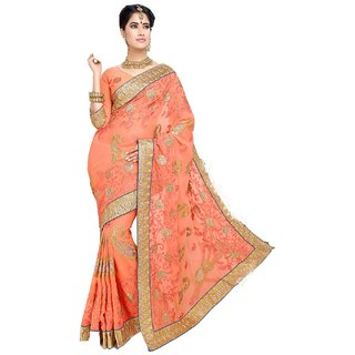Bay & Blue Collection Of Orange Chiffon Sari With Resham Embroidery, Lace Border