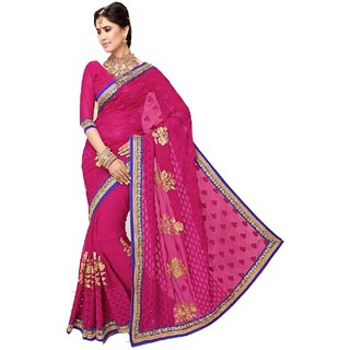 Bay & Blue Collection Of Fuchsia Chiffon Sari With Resham Embroidery,Lace Border